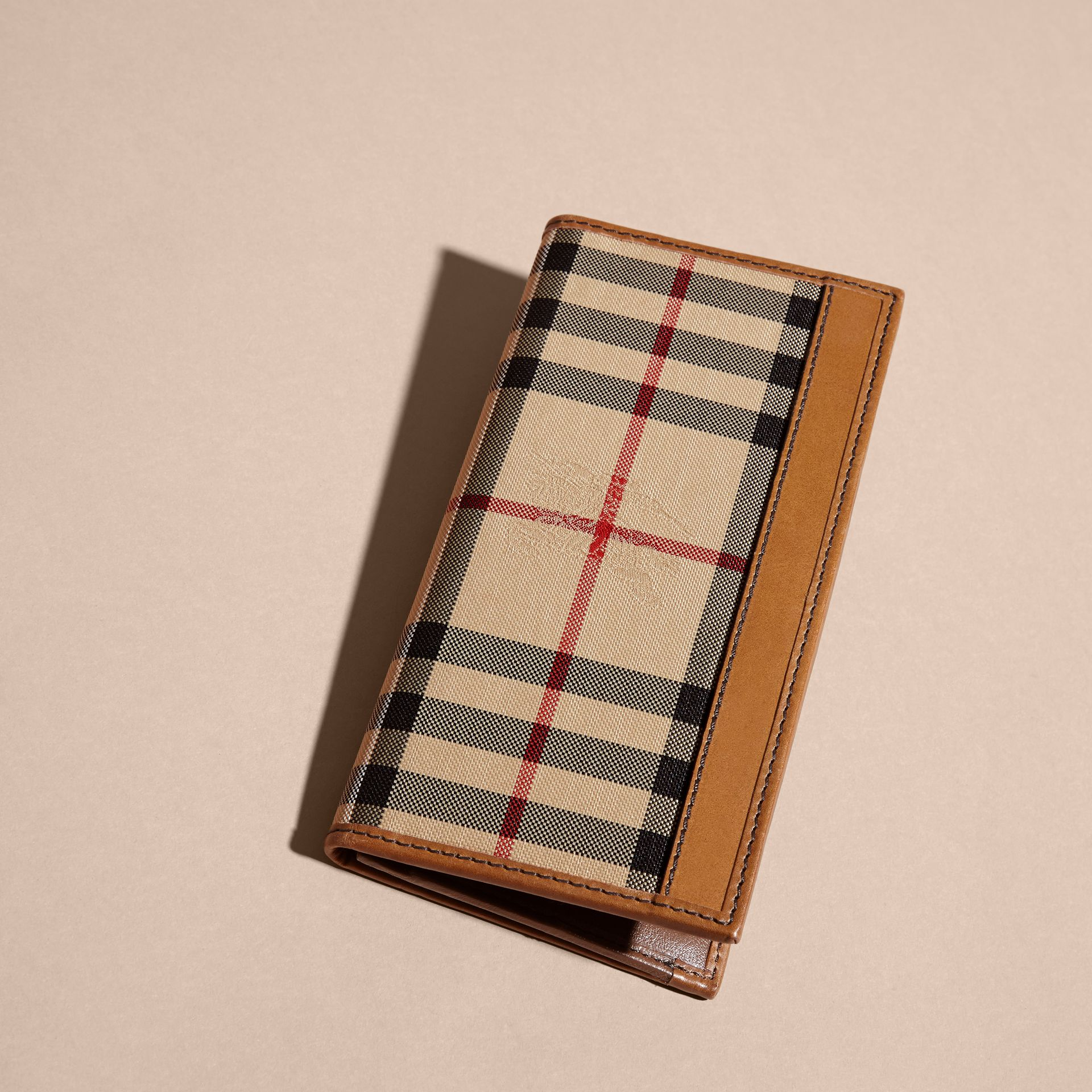 Small Horseferry Check Currency Wallet in Tan - Men | Burberry United Kingdom - gallery image 2