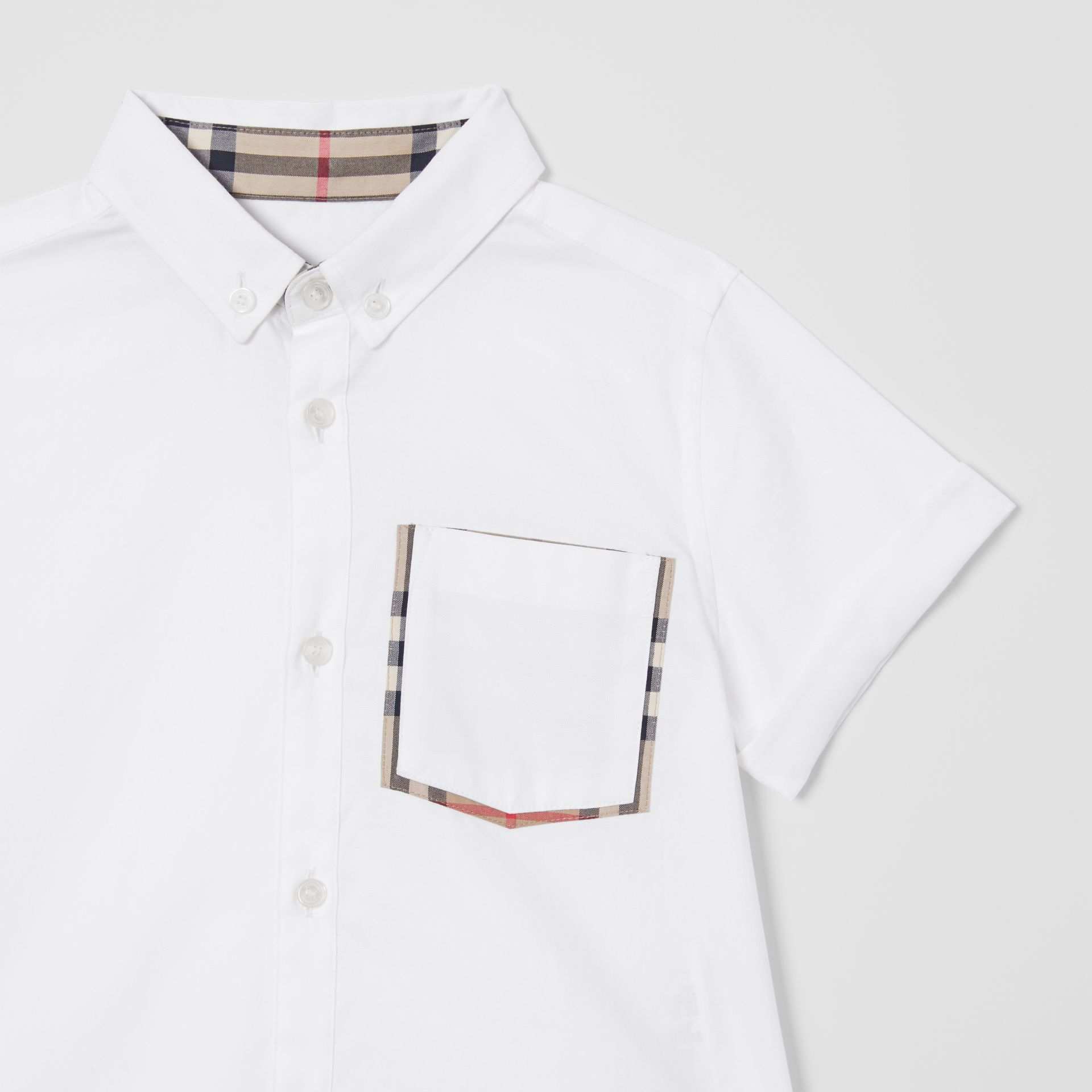 Short-sleeve Vintage Check Trim Cotton Oxford Shirt in White | Burberry United States - gallery image 4