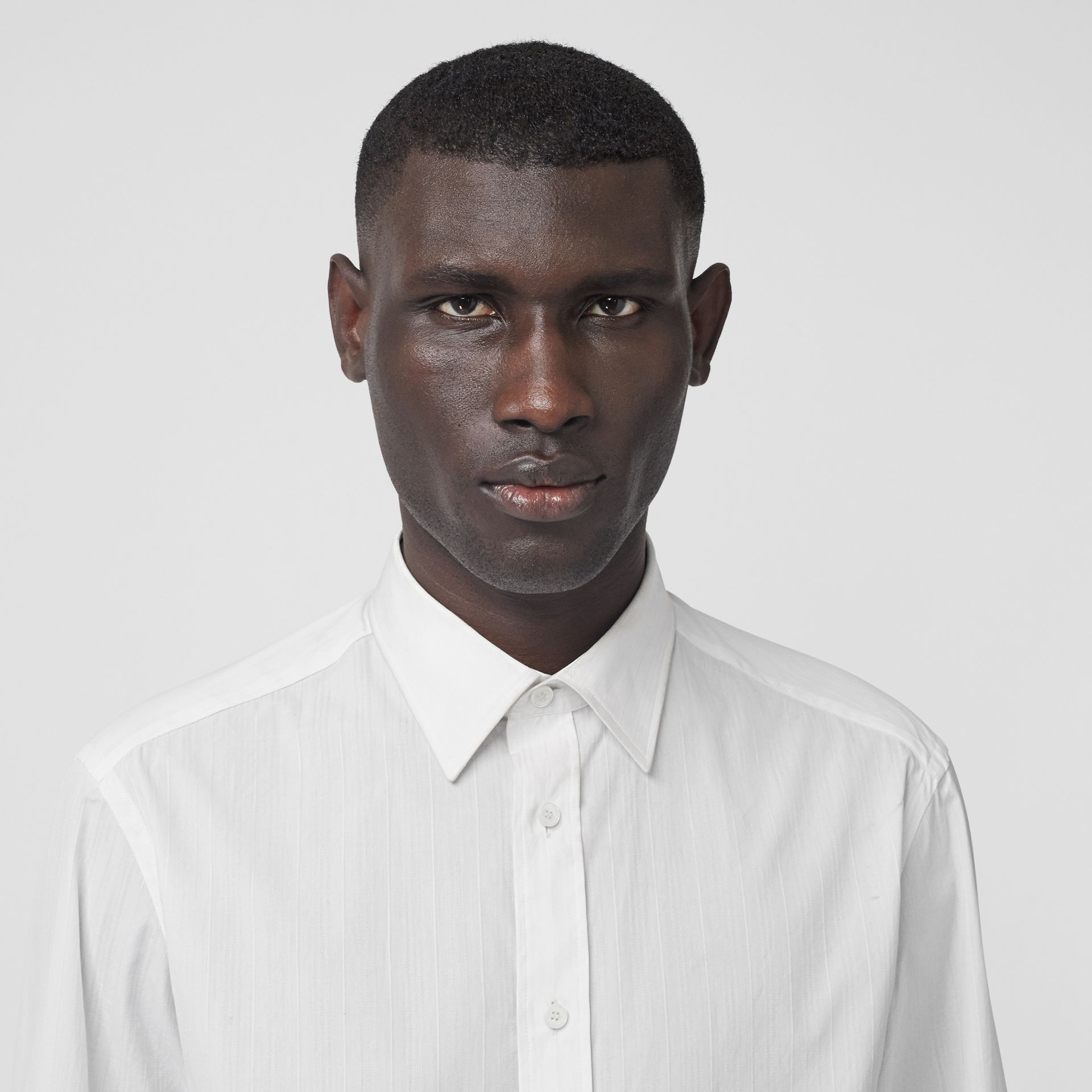Classic Fit Striped Cotton Shirt in White - Men | Burberry - gallery image 1