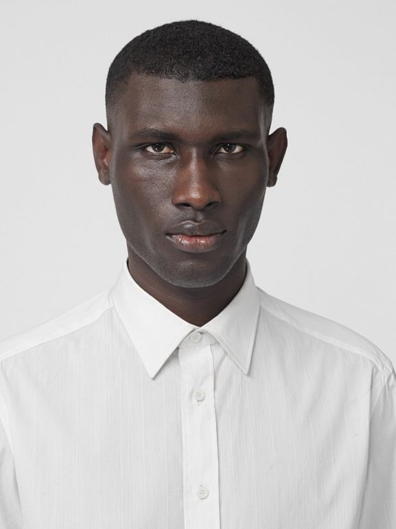 Classic Fit Striped Cotton Shirt in White - Men | Burberry - cell image 1