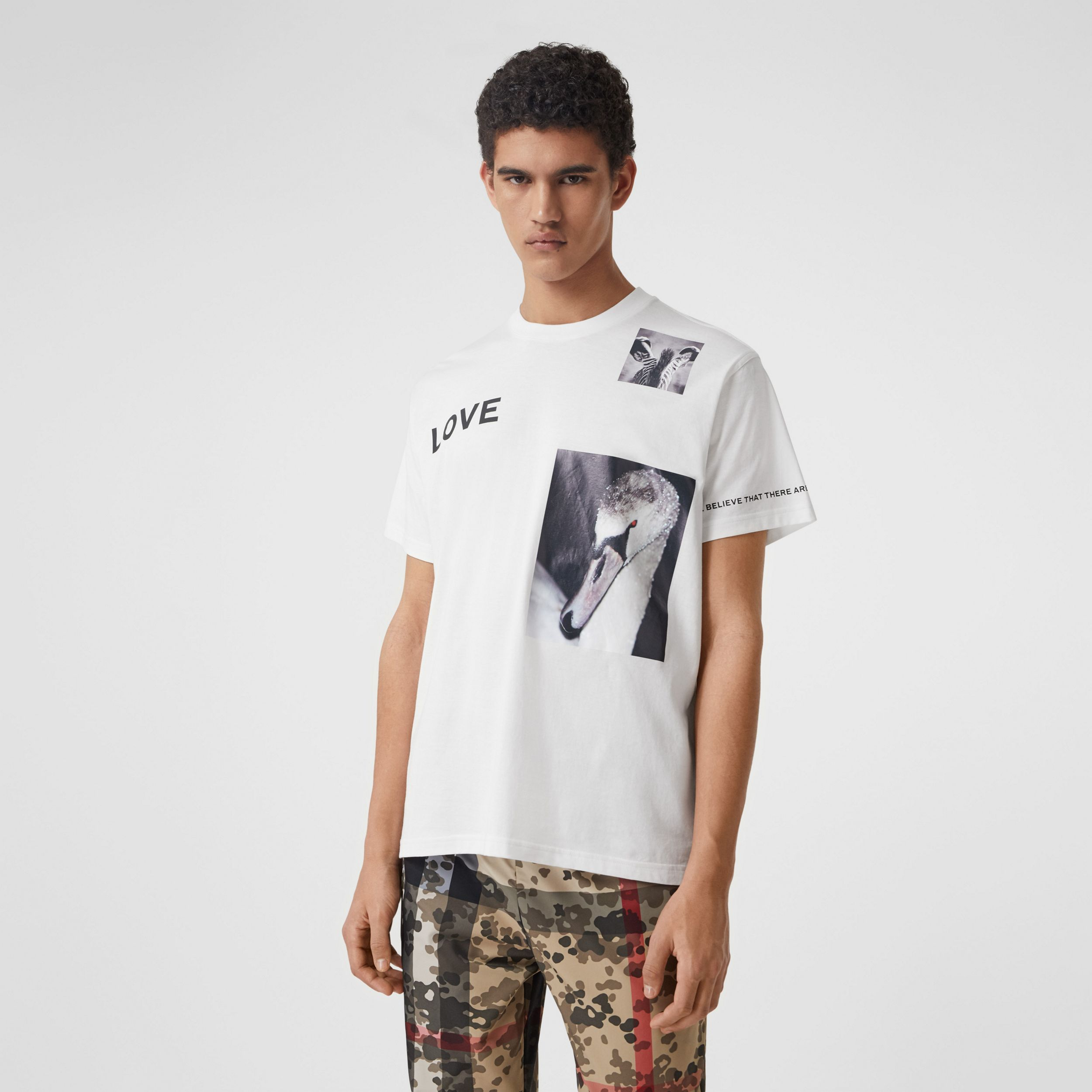 Montage Print Cotton T-shirt in White - Men | Burberry - 1
