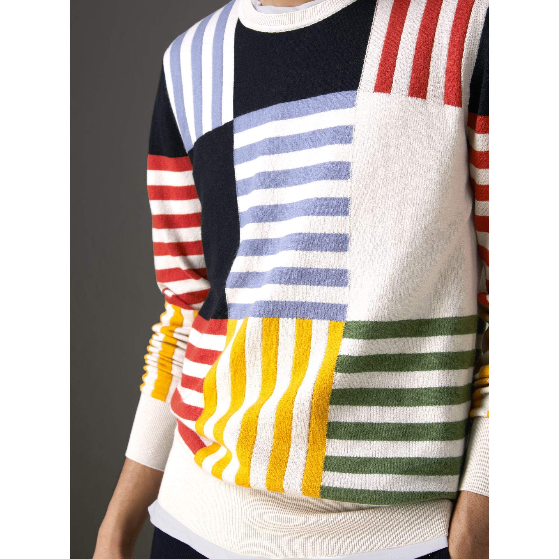 Striped Intarsia Cashmere Cotton Sweater in Natural White - Men | Burberry - gallery image 1