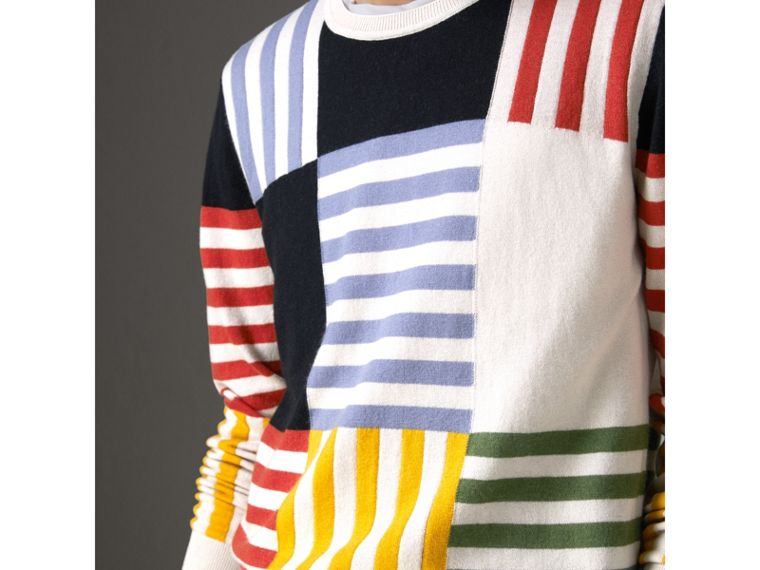 Striped Intarsia Cashmere Cotton Sweater in Natural White - Men | Burberry - cell image 1