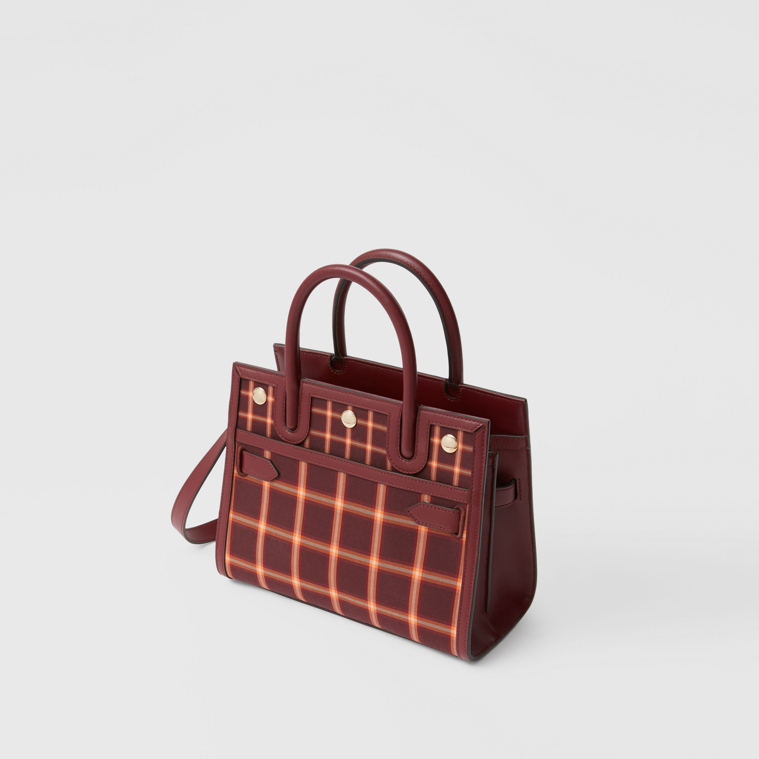 Mini Tartan Technical Cotton Two-handle Title Bag in Burgundy - Women | Burberry - 4