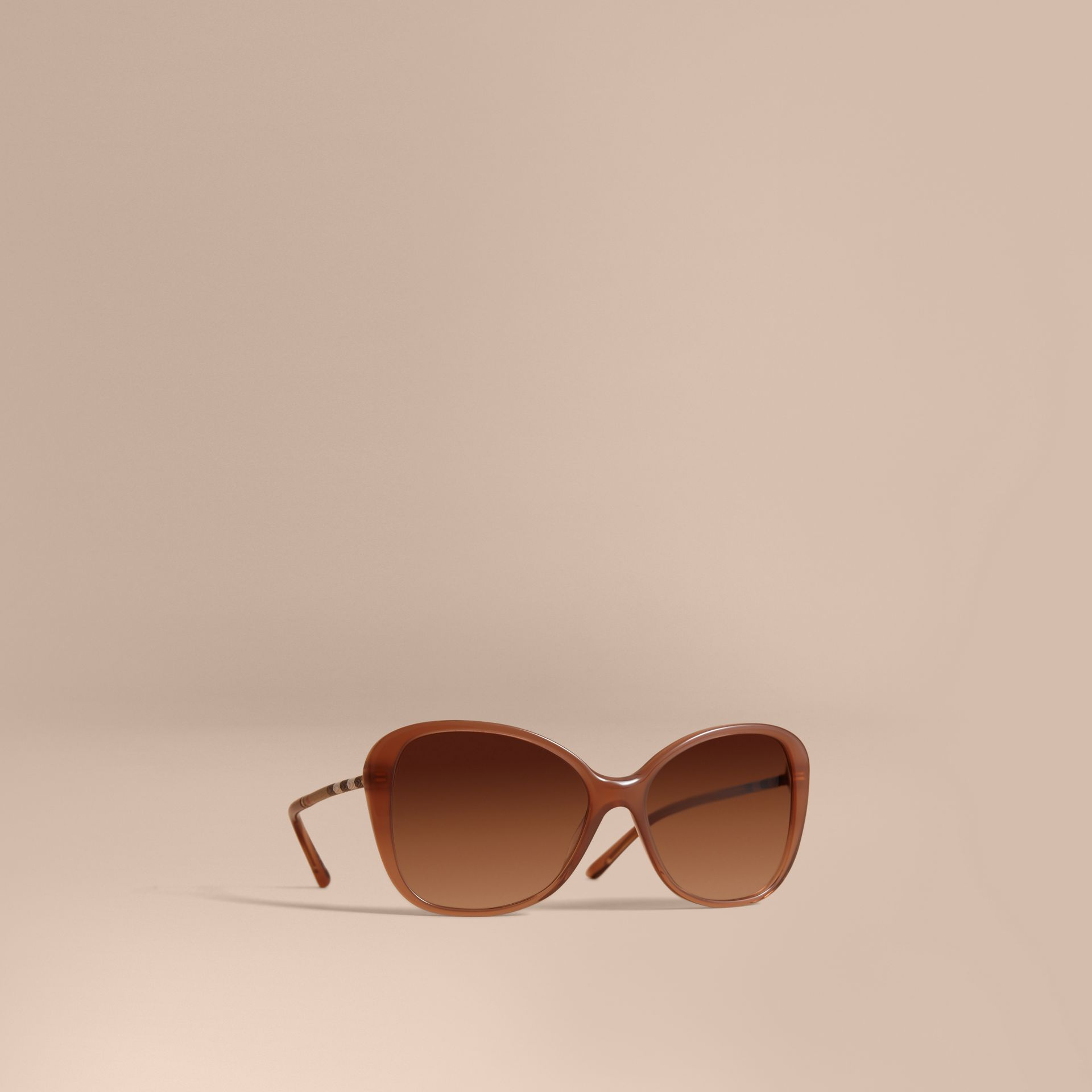 Check Detail Butterfly Frame Sunglasses Nude - gallery image 1