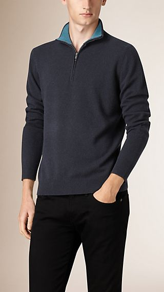 Zip Collar Cashmere Sweater