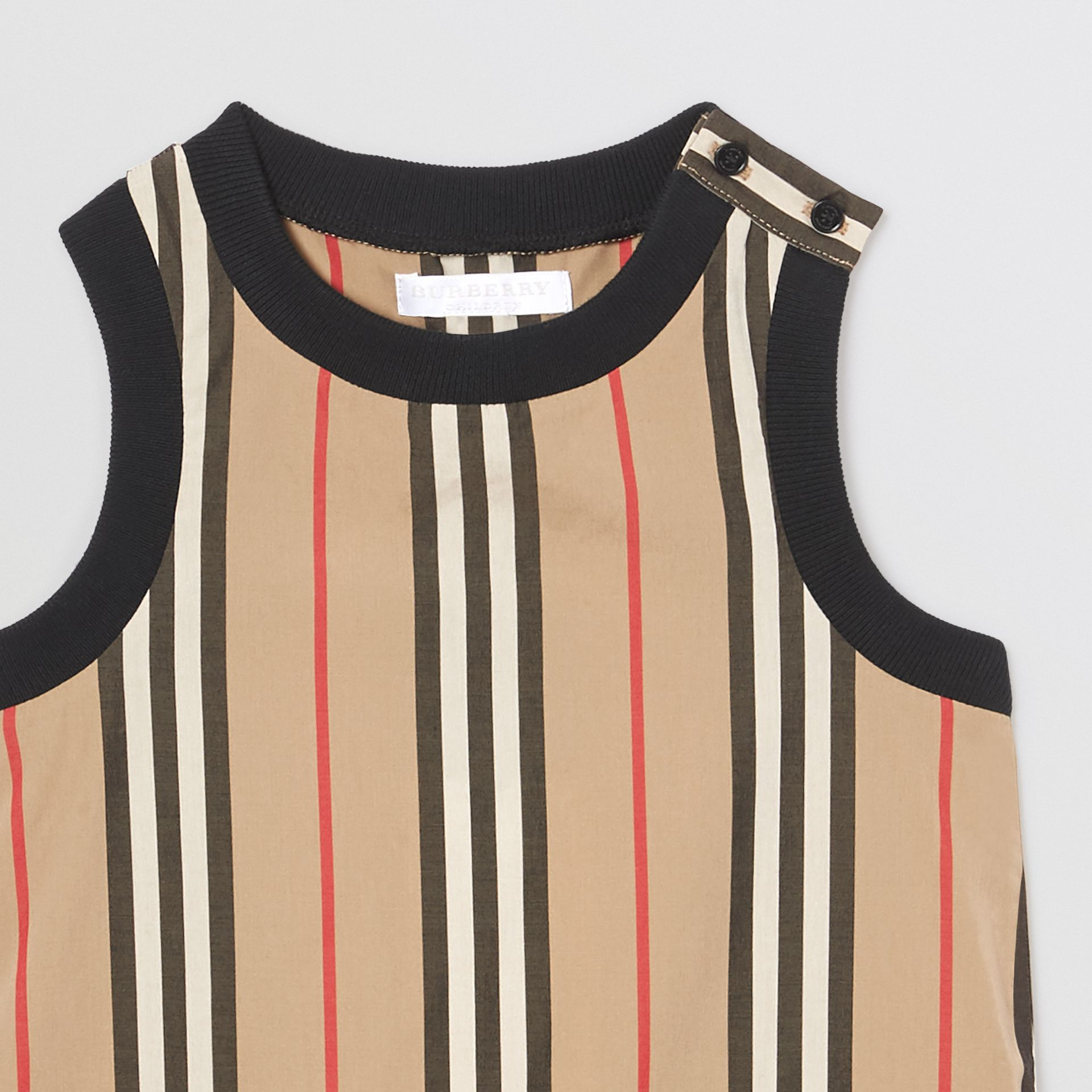 Icon Stripe Cotton Bodysuit in Archive Beige - Children | Burberry - gallery image 4