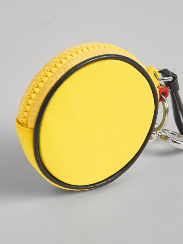 Monster Motif Vintage Check and Leather Coin Case in Antique Yellow | Burberry Australia - cell image 2