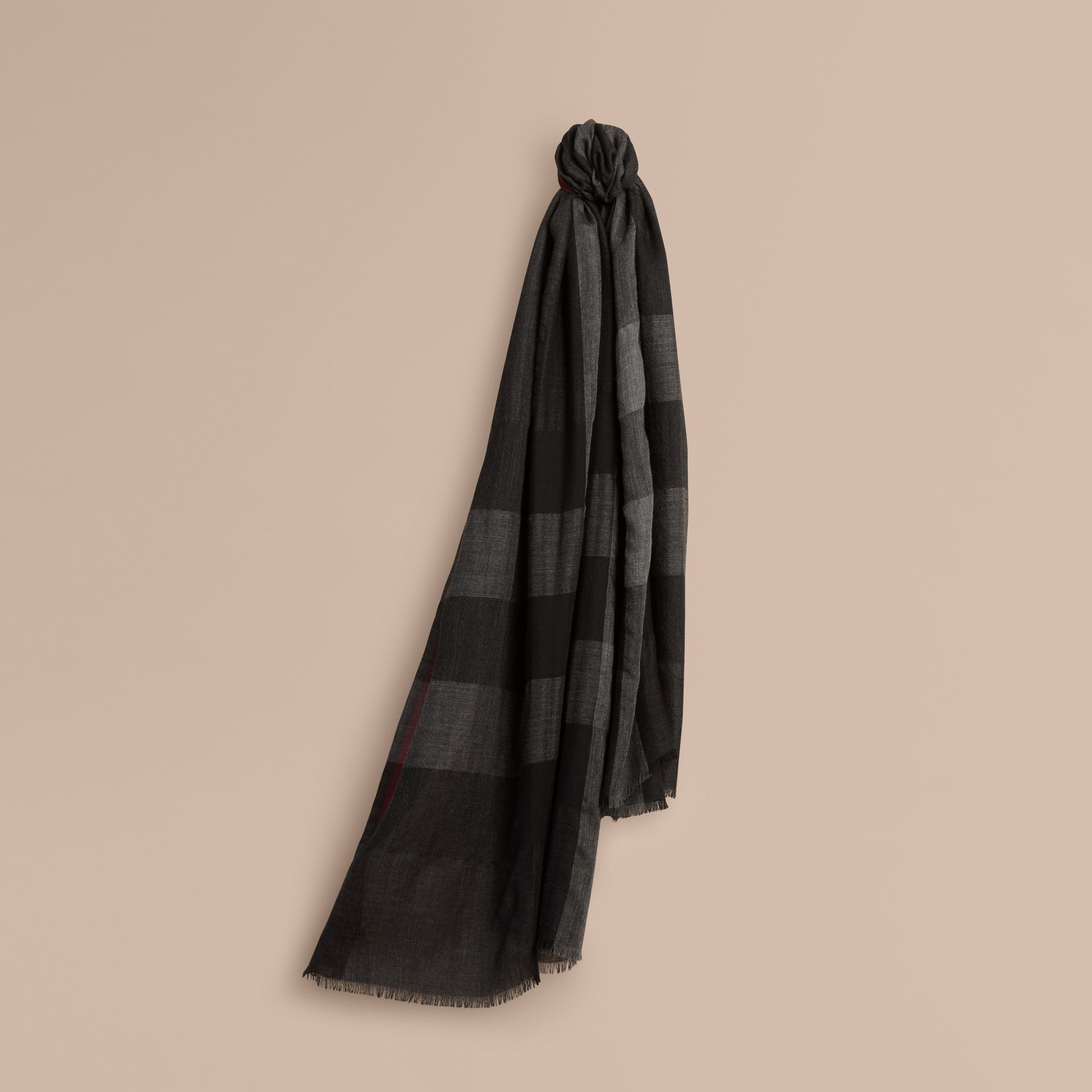 The Lightweight Cashmere Scarf in Check in Charcoal - gallery image 6