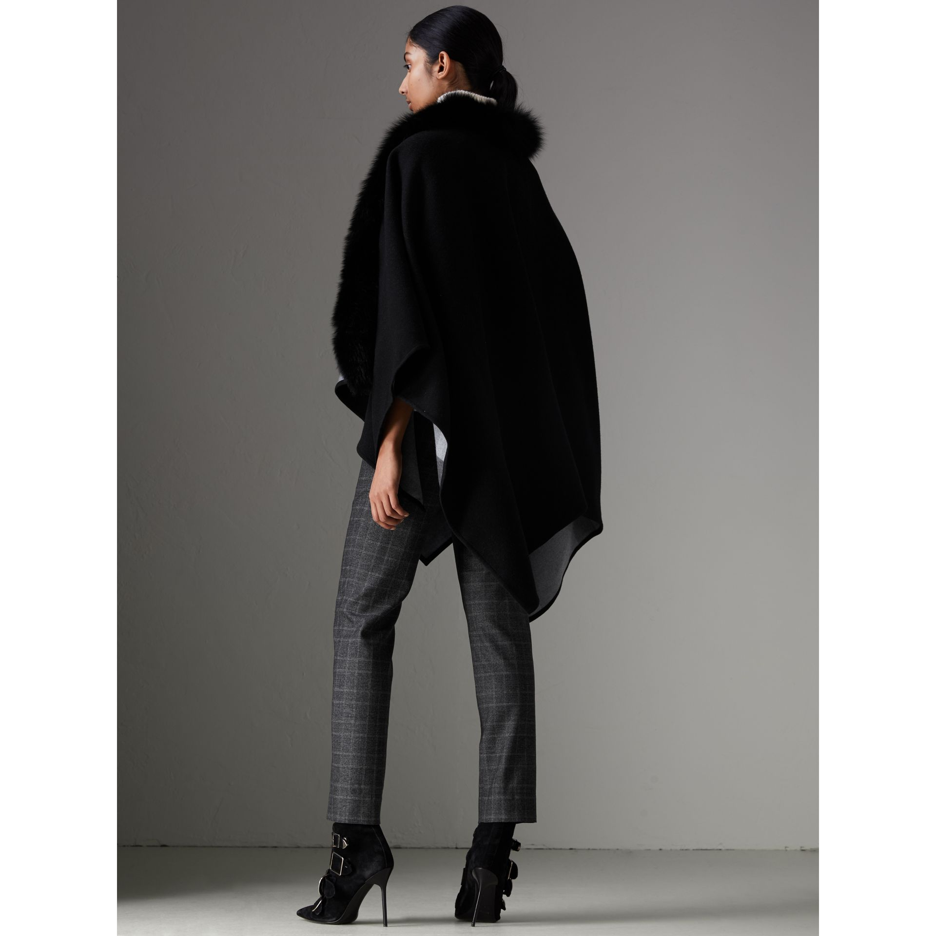 Fur-trimmed Merino Wool Poncho in Charcoal - Women | Burberry - gallery image 2