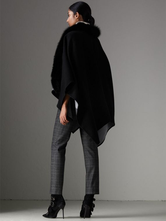Fur-trimmed Merino Wool Poncho in Charcoal - Women | Burberry United Kingdom - cell image 2