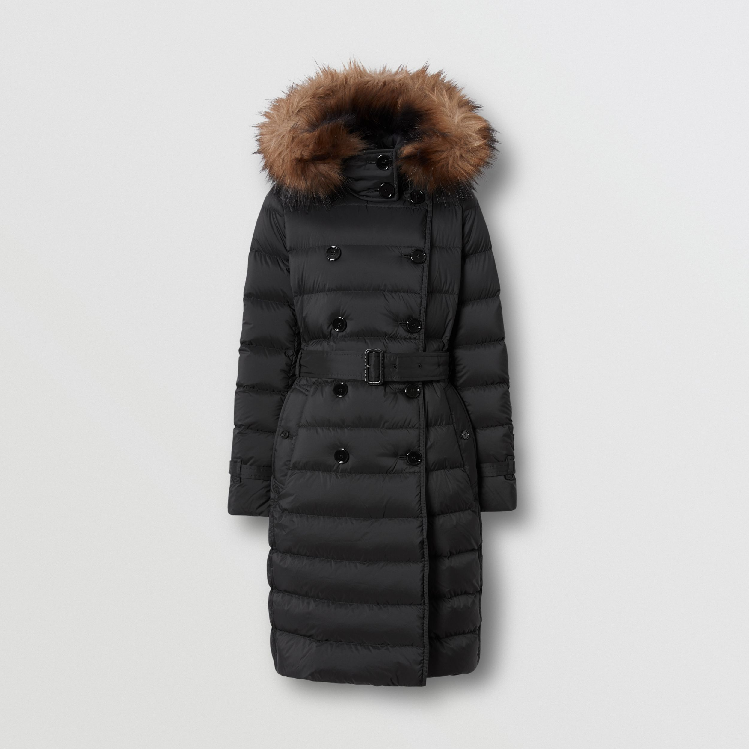 Detachable Hood Down-filled Coat in Black - Women | Burberry - 4
