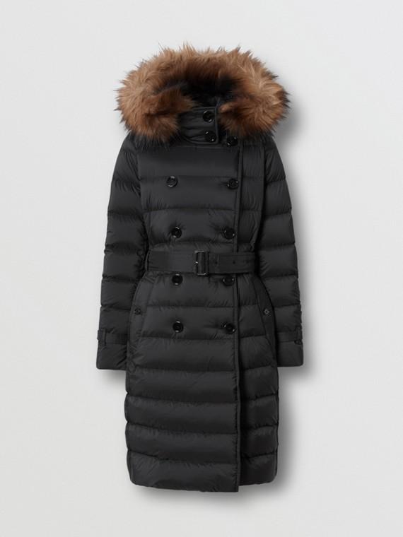 Manteau rembourré en duvet avec capuche amovible (Noir)
