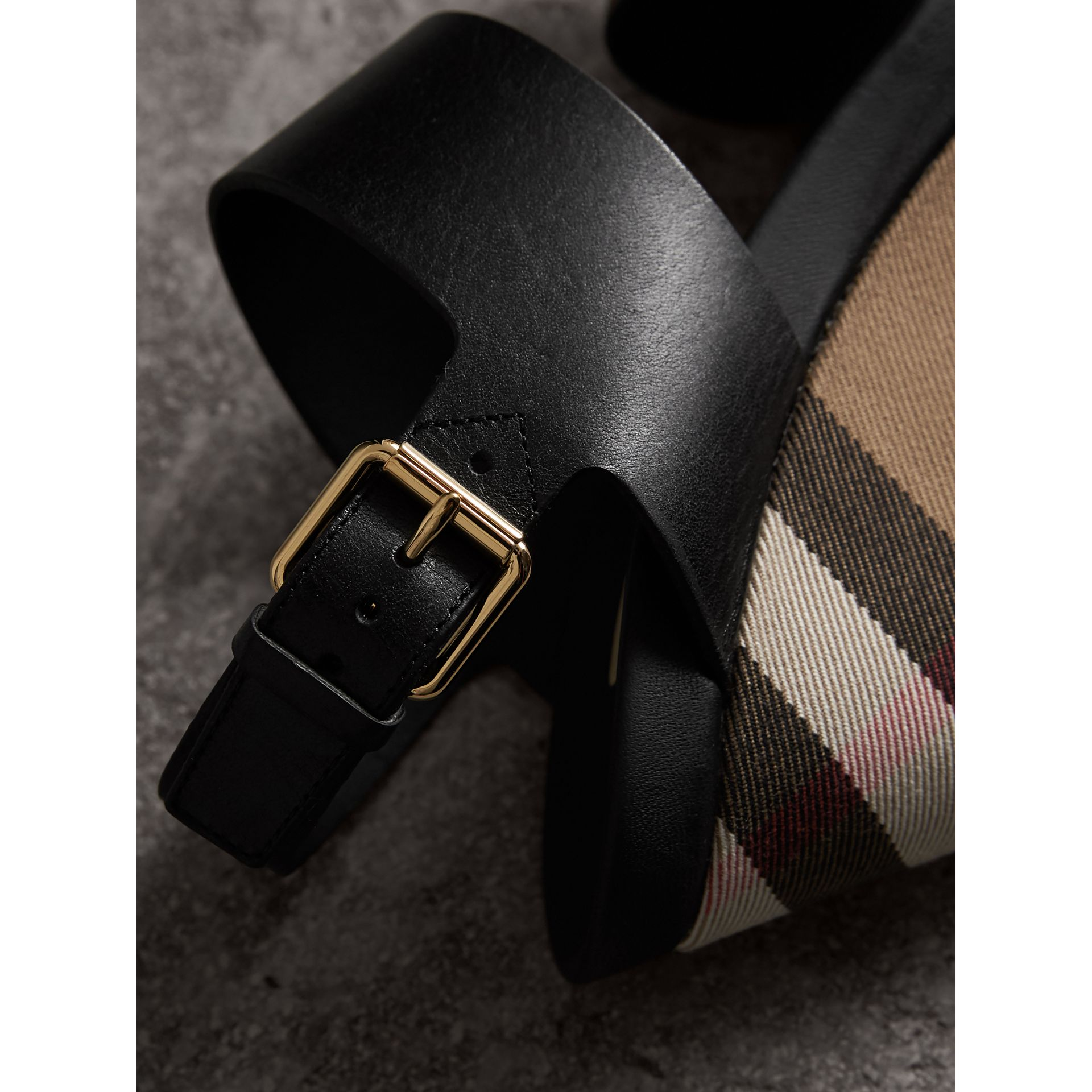 House Check Leather and Calf Suede Platform Wedges in Dark Heather Melange - Women | Burberry Canada - gallery image 1