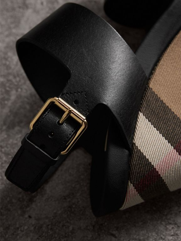 House Check Leather and Calf Suede Platform Wedges in Dark Heather Melange - Women | Burberry - cell image 1