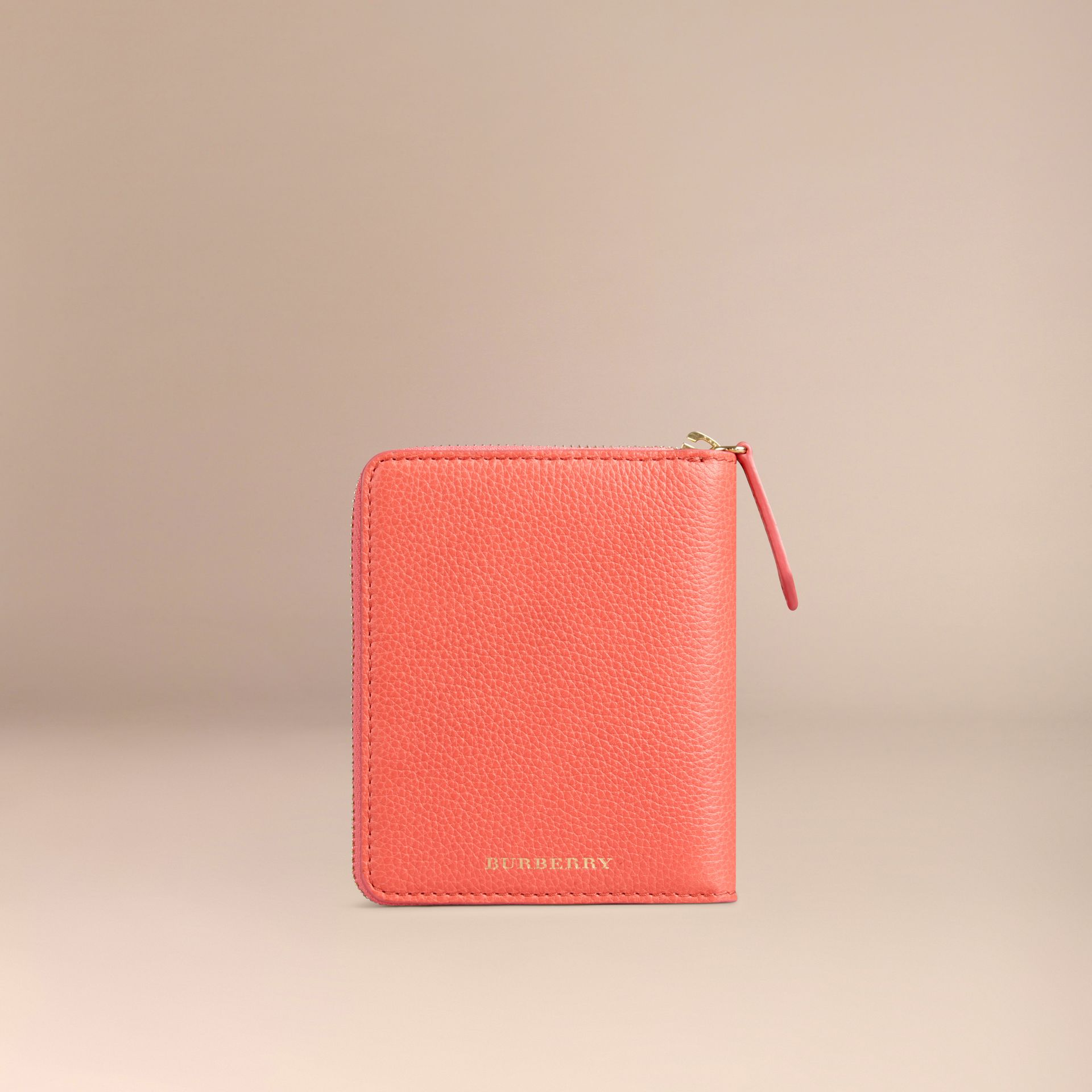 Ziparound Grainy Leather Mini Notebook in Bright Peony | Burberry - gallery image 4