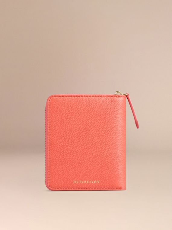 Ziparound Grainy Leather Mini Notebook in Bright Peony | Burberry - cell image 3