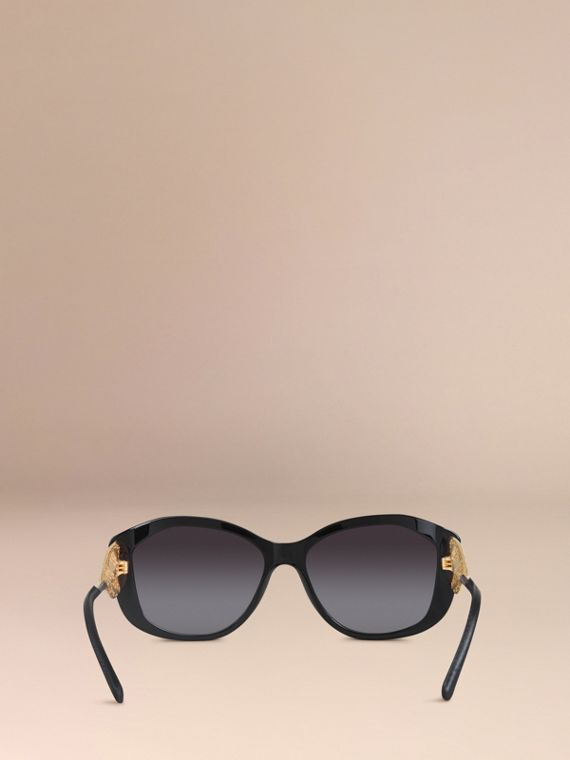 Gabardine Lace Collection Square Frame Sunglasses in Black - cell image 2