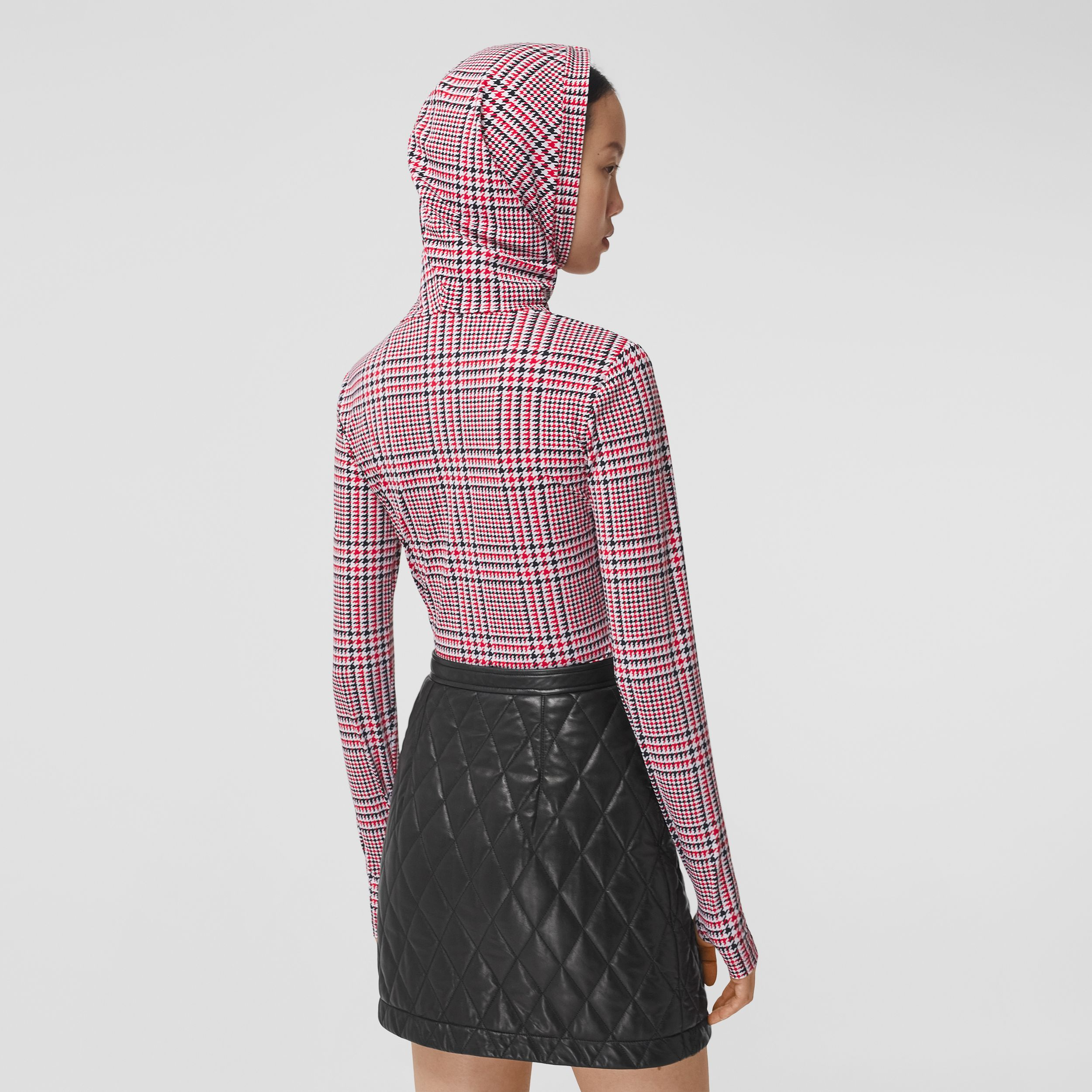 Houndstooth Check Print Stretch Jersey Hooded Top in Bright Red - Women | Burberry - 3