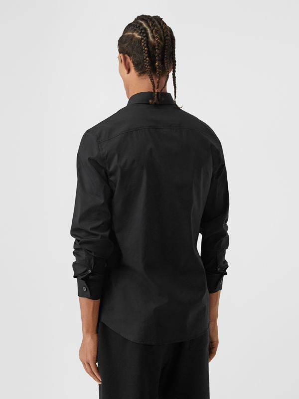 Monogram Motif Stretch Cotton Poplin Shirt in Black - Men | Burberry - cell image 2