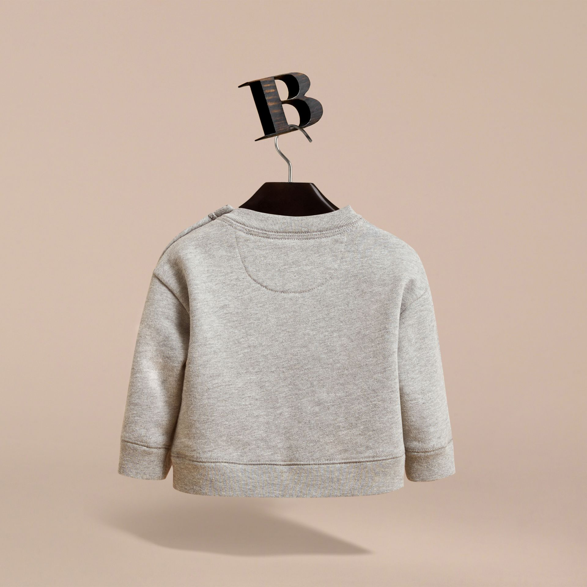 Birds of a Feather Motif Cotton Sweatshirt in Grey Melange | Burberry - gallery image 4