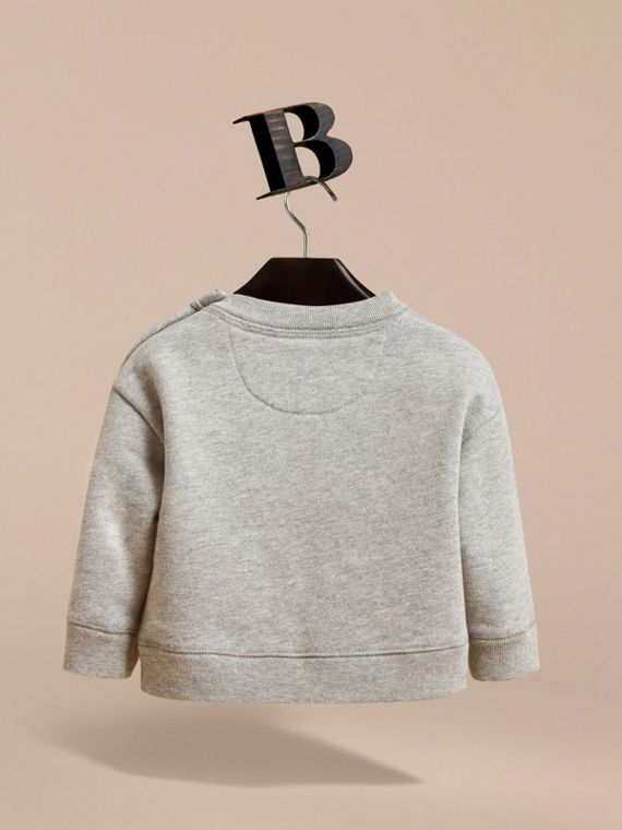Birds of a Feather Motif Cotton Sweatshirt in Grey Melange | Burberry - cell image 3