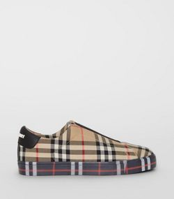 82d75b1b0cbb Contrast Check and Leather Slip-on Sneakers in Archive Beige