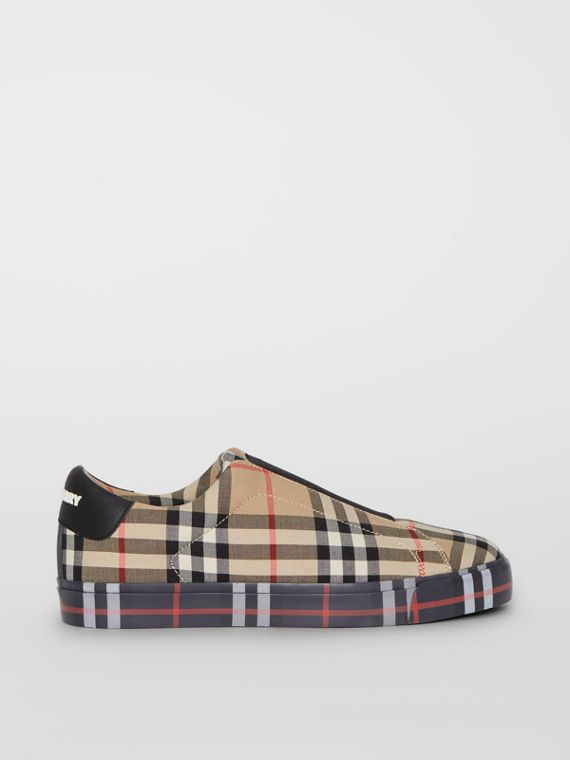 Contrast Check and Leather Slip-on Sneakers in Archive Beige