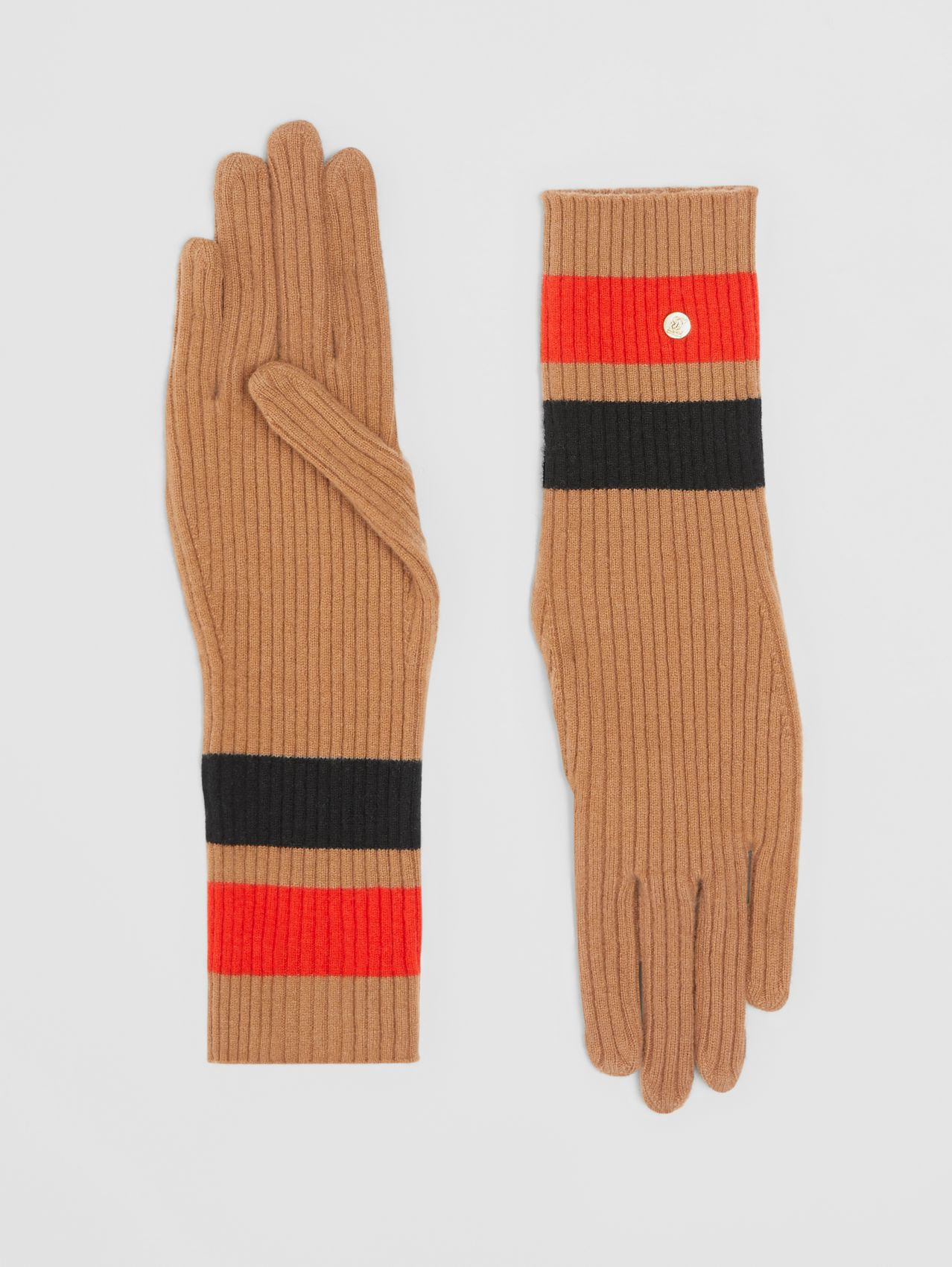 Monogram Motif Merino Wool Cashmere Gloves in Warm Camel