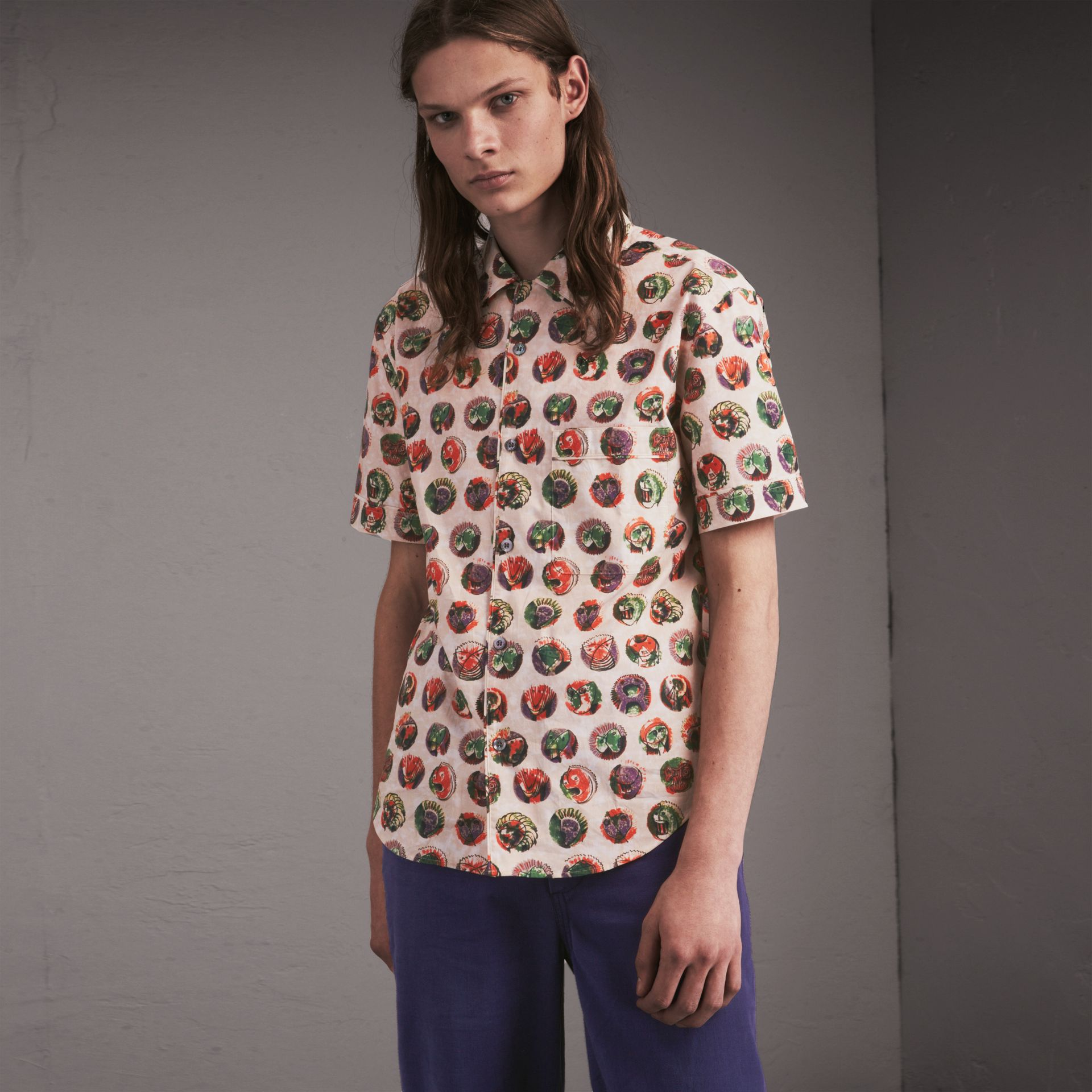 Short-sleeve Pallas Heads Print Cotton Shirt in Natural White - Men | Burberry - gallery image 1