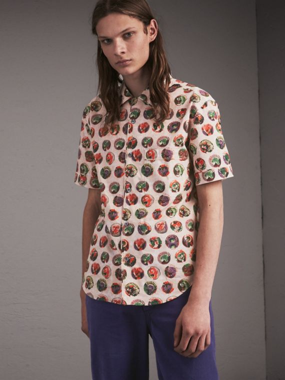 Short-sleeve Pallas Heads Print Cotton Shirt
