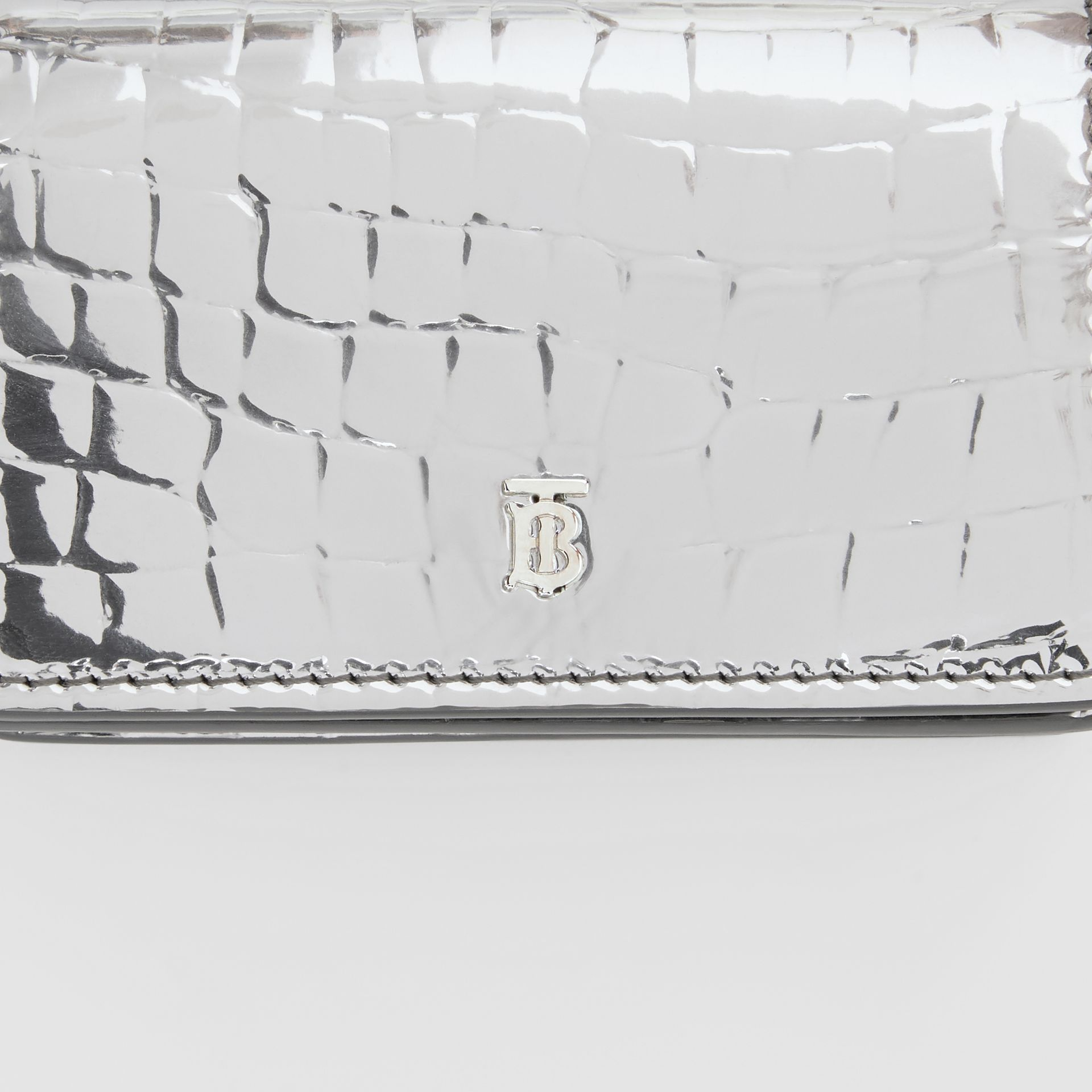Metallic Embossed Card Case with Detachable Strap in Silver | Burberry United Kingdom - gallery image 1