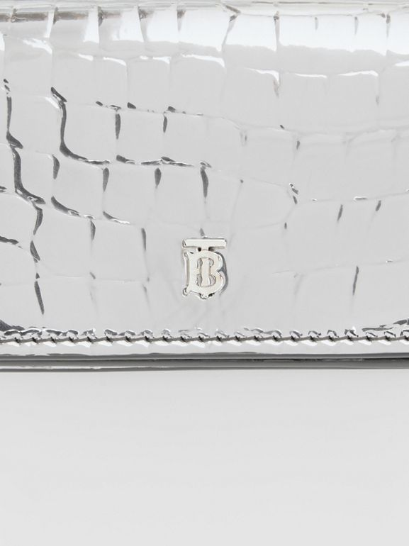 Metallic Embossed Card Case with Detachable Strap in Silver | Burberry United Kingdom - cell image 1