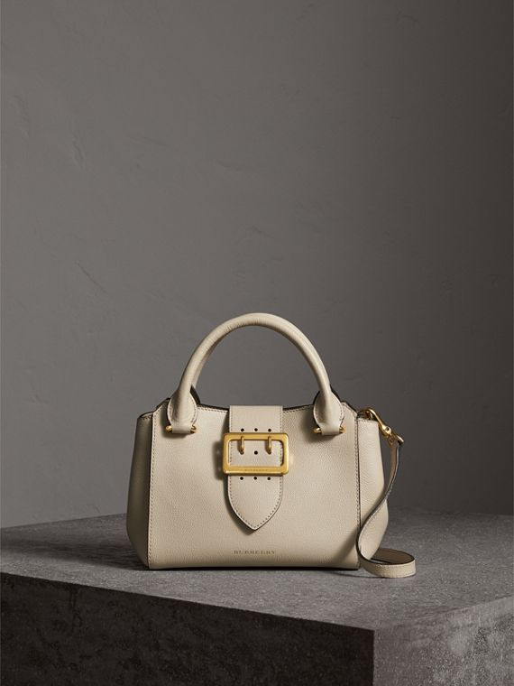 The Small Buckle Tote in Grainy Leather in Limestone - Women | Burberry