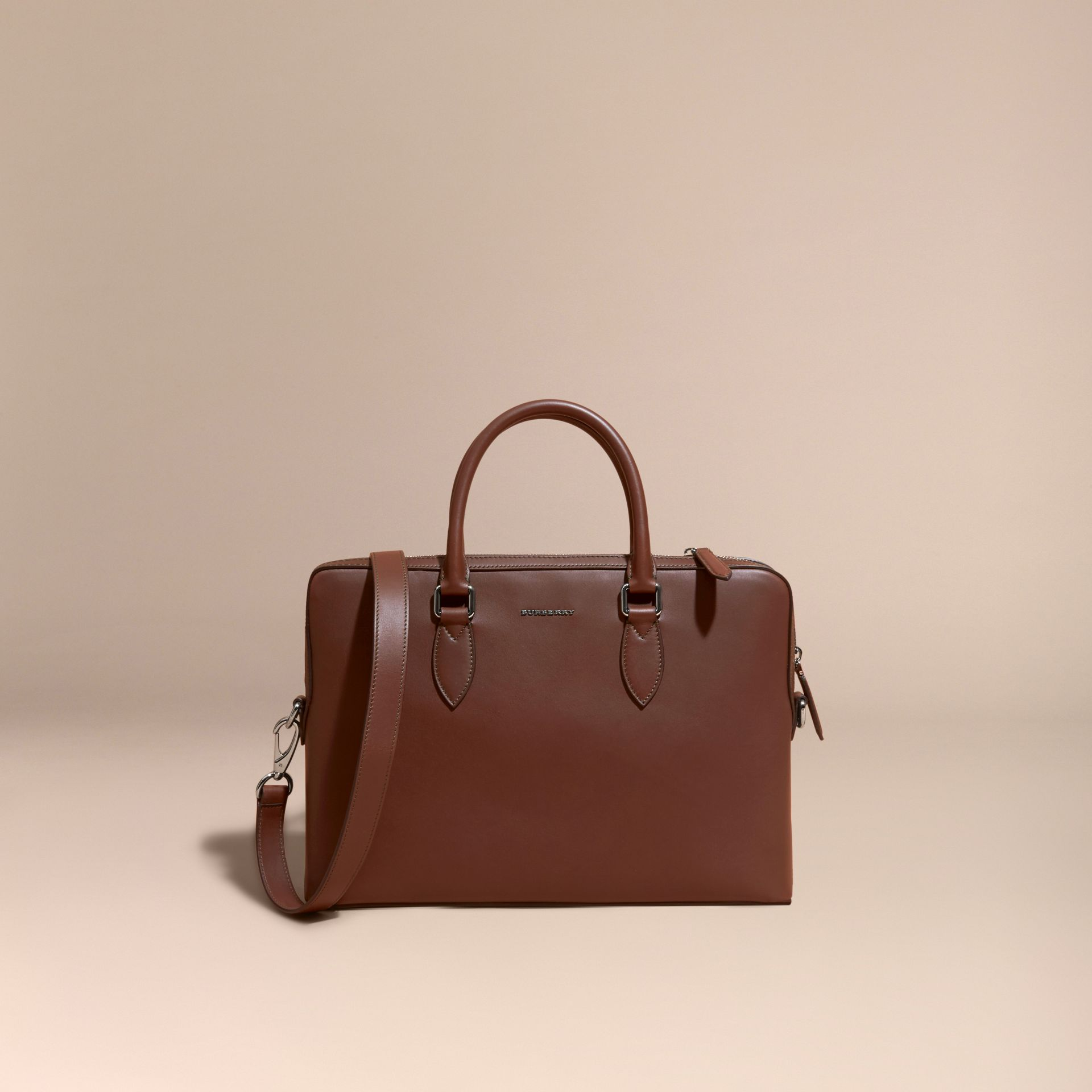 White/sepia brown The Slim Barrow Bag in Smooth Leather - gallery image 8