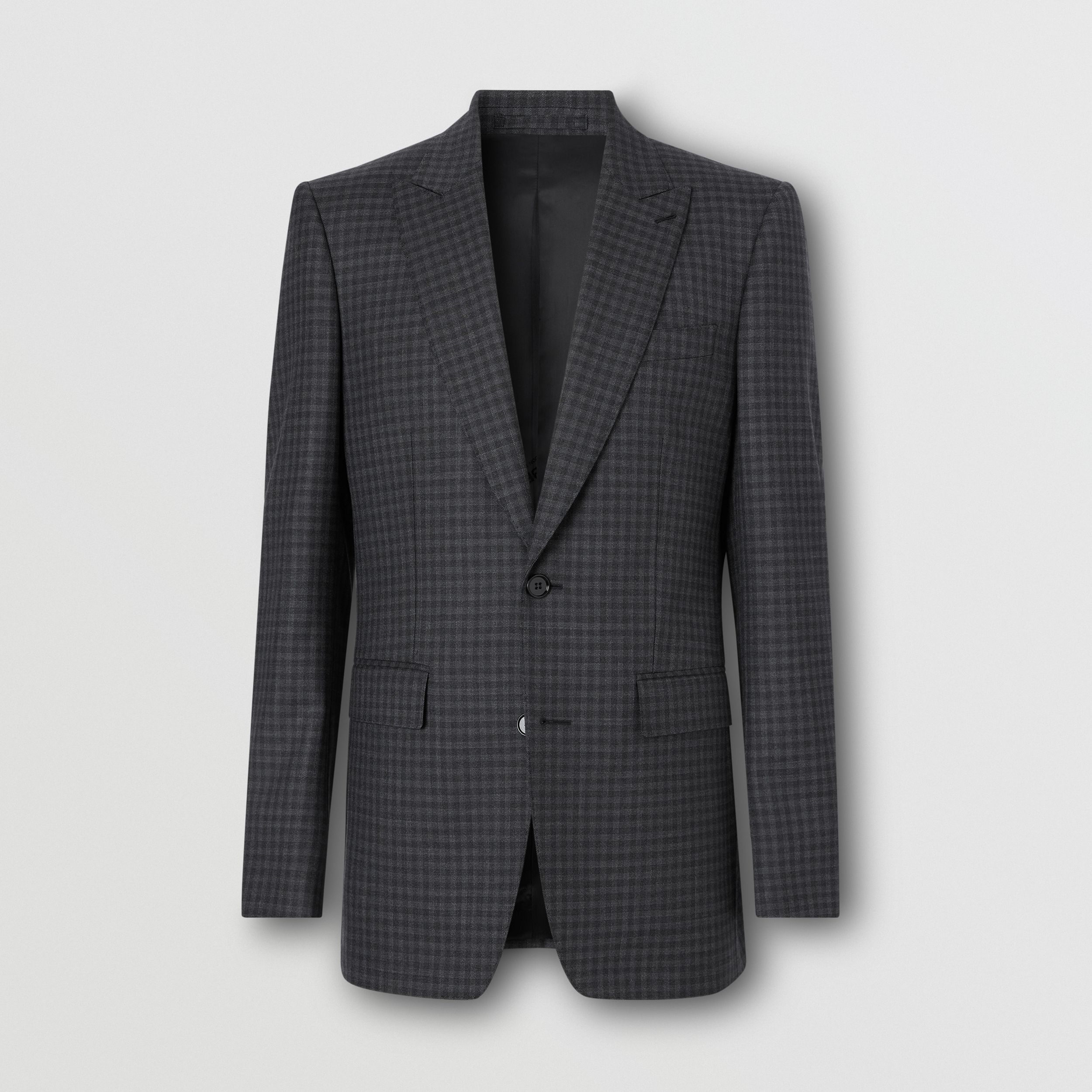 English Fit Gingham Wool Suit in Charcoal - Men | Burberry - 4