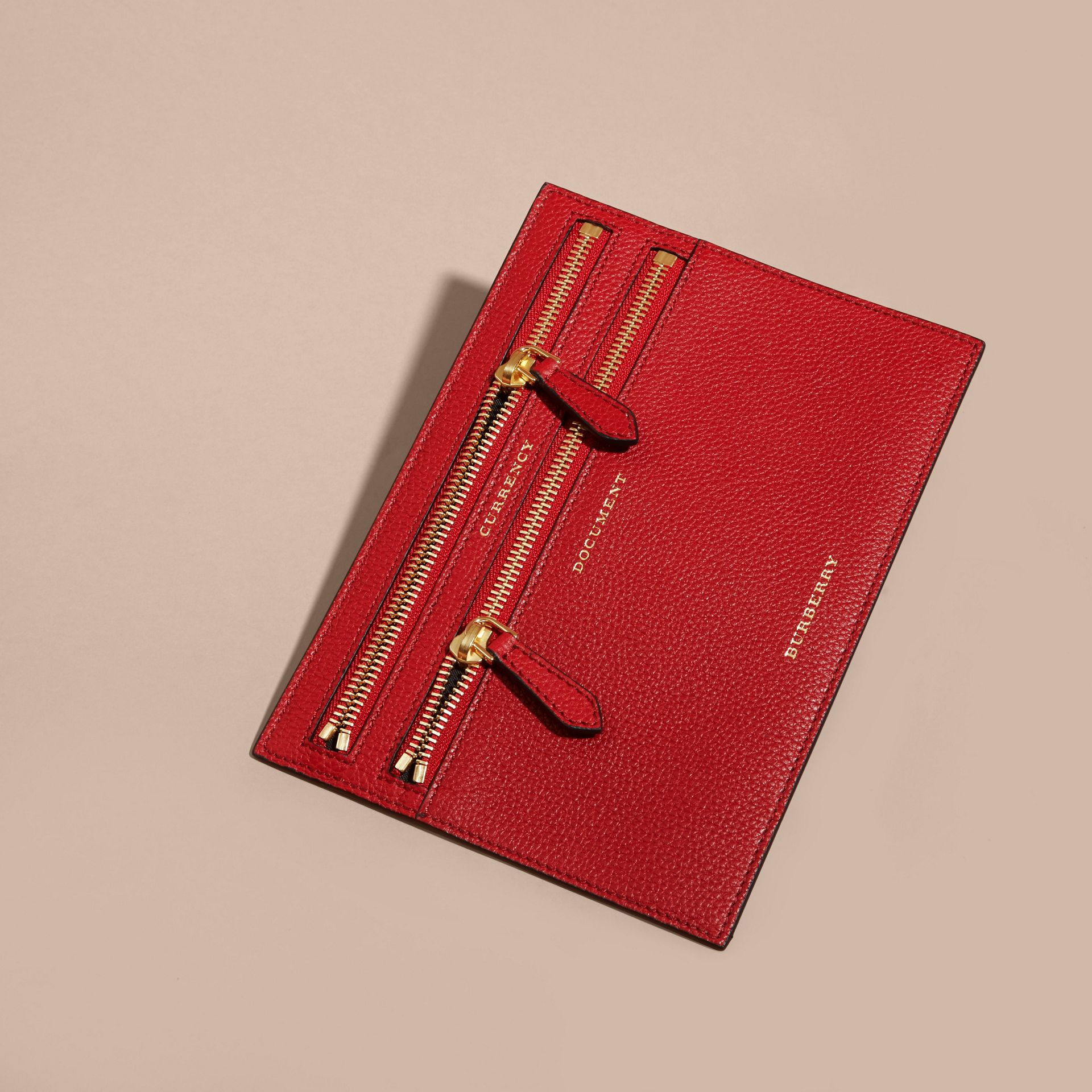 Grainy Leather Currency Wallet in Parade Red | Burberry - gallery image 3