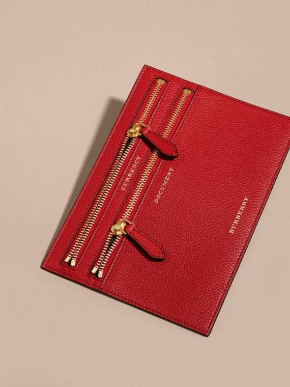 Grainy Leather Currency Wallet in Parade Red | Burberry - cell image 2