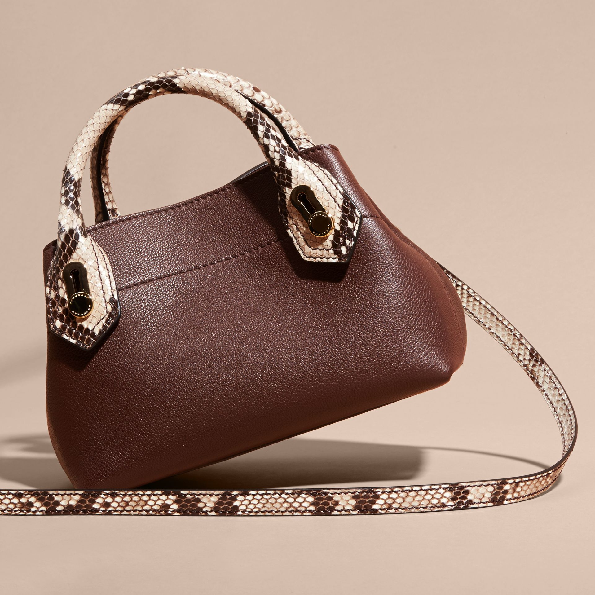 Dark chocolate The Baby Milton in Leather and Python - gallery image 4