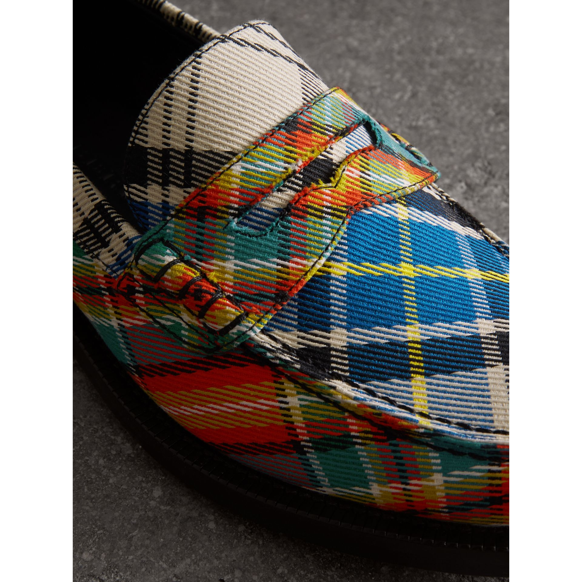 Tartan Cotton Penny Loafers in Poppy Orange - Women | Burberry - gallery image 1