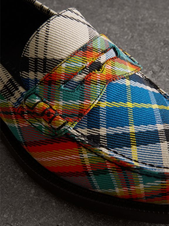 Tartan Cotton Penny Loafers in Poppy Orange - Women | Burberry United Kingdom - cell image 1