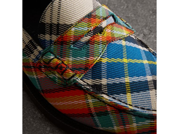 Tartan Cotton Penny Loafers in Poppy Orange - Women | Burberry - cell image 1