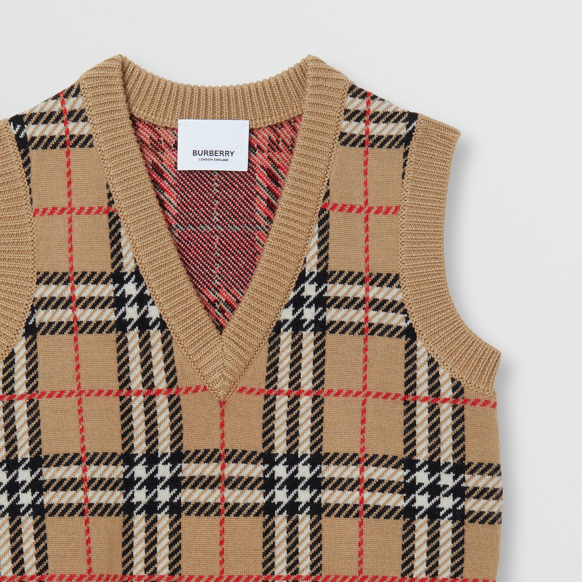 Check Merino Wool Jacquard Vest in Archive Beige | Burberry - gallery image 3