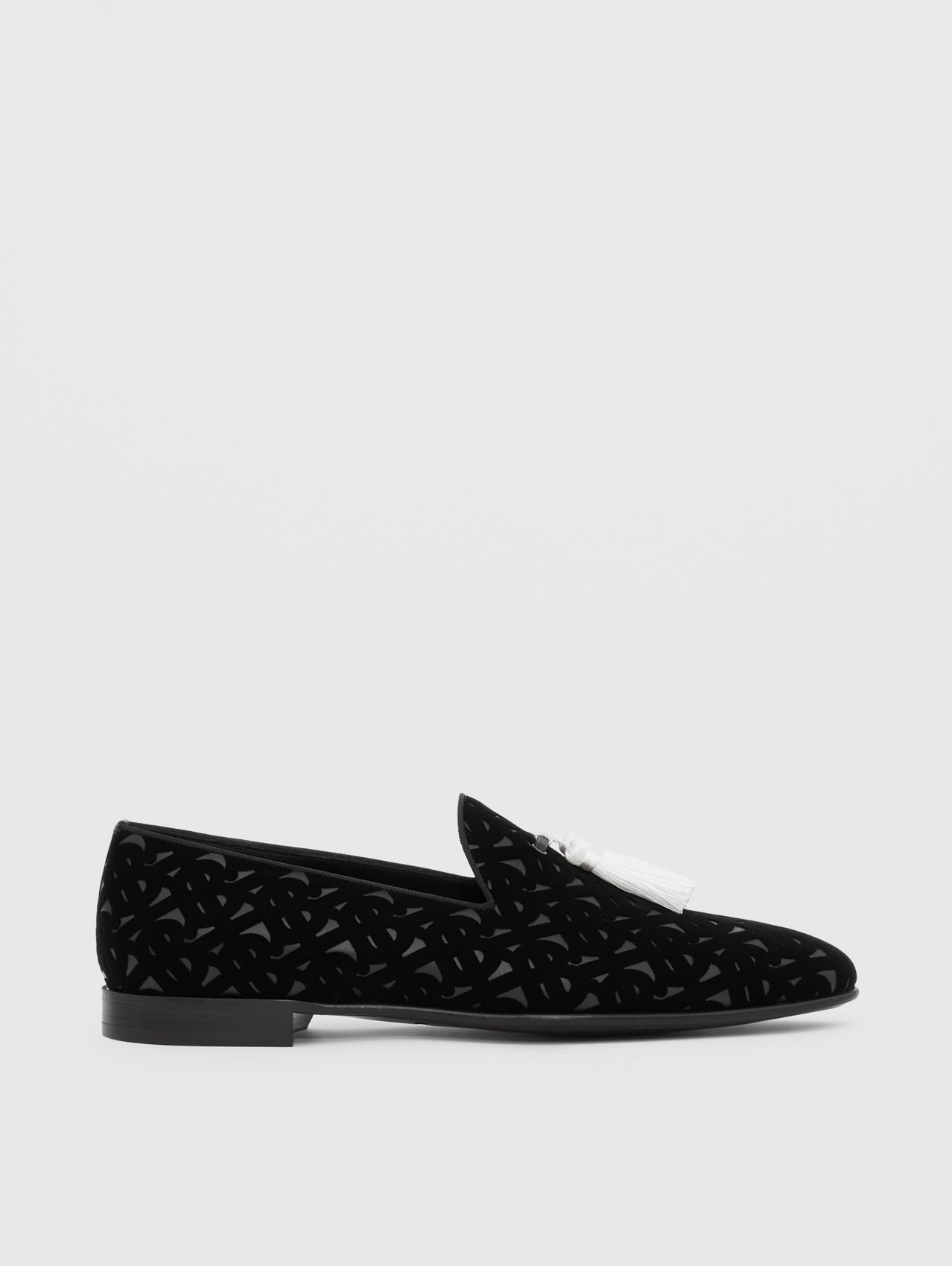 Contrast Tassel Monogram Flocked Leather Loafers in Black