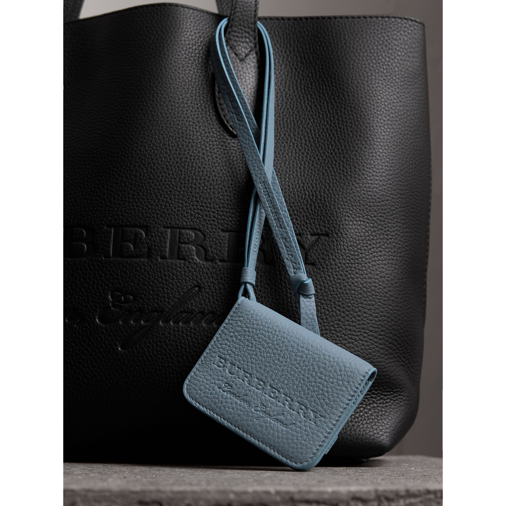 Embossed Leather ID Card Case Charm in Dusty Teal Blue | Burberry - gallery image 1