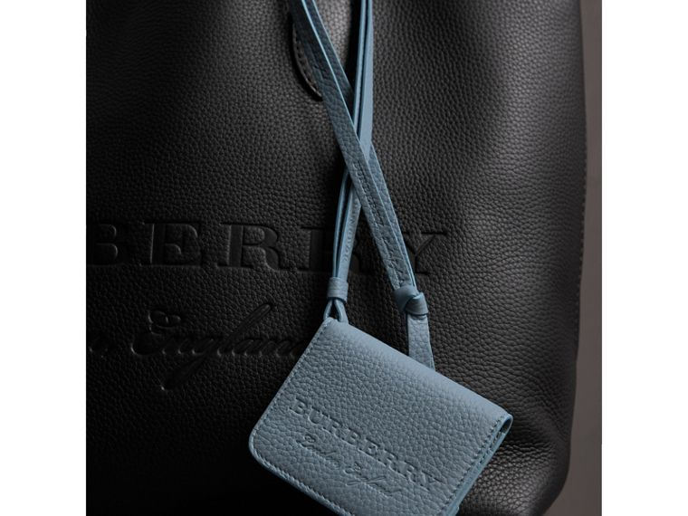 Embossed Leather ID Card Case Charm in Dusty Teal Blue | Burberry - cell image 1