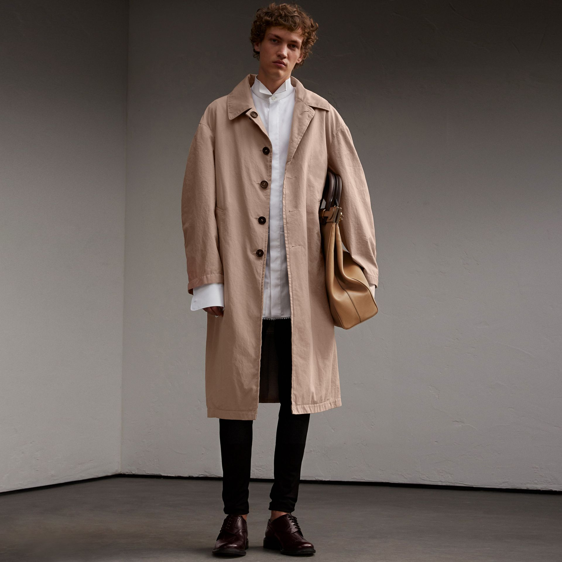 Unisex Tropical Gabardine Car Coat in Antique Taupe Pink - Men | Burberry - gallery image 7
