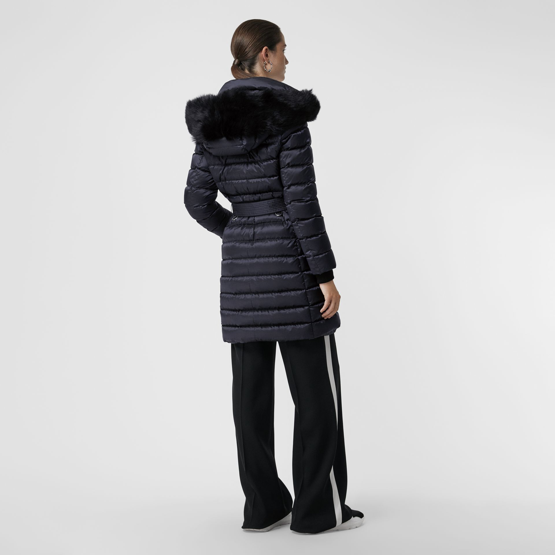 Detachable Shearling Trim Down-filled Puffer Coat in Navy - Women | Burberry - gallery image 2