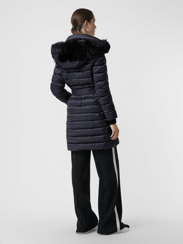 Detachable Shearling Trim Down-filled Puffer Coat in Navy - Women | Burberry - cell image 2