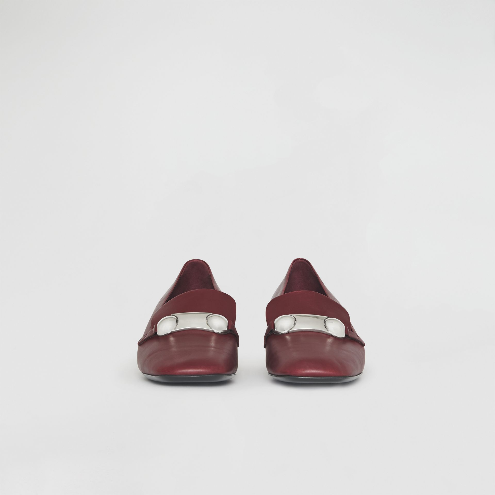 Studded Bar Detail Leather Pumps in Bordeaux - Women | Burberry - gallery image 3